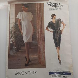 VTG VOGUE GIVENCHY DRESS PATTERN # 2303